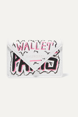 Balenciaga Papier Mini Printed Textured-leather Wallet - White