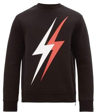 Neil Barrett Lightning Bolt Logo Side Zip Sweatshirt - Mens - Black