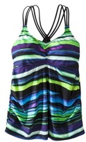 Green & Black Merona® Women's Plus-Size Tankini Swim Top - Green/Black