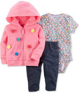 Carter's 3-Pc. Cotton Hoodie, Bodysuit & Pants Set, Baby Girls