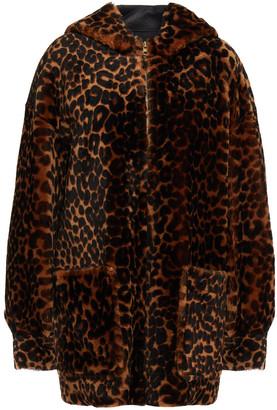 Sandro Leopard-print Shearling Hooded Jacket