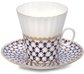 Imperial Porcelain Dandelion Cobalt Net Coffee Cup & Saucer Two-Piece Set