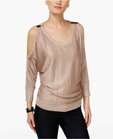INC International Concepts Metallic Cold-Shoulder Sweater, Only at Macy's