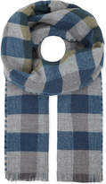 Johnstons Burgundy Checked Luxurious Oversized Reversible Merino-wool-cashmere Scarf