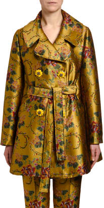 Dolce & Gabbana Flower Jacquard Double-Breasted Coat
