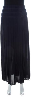 Joseph Navy Silk Georgette Pleated Wrap Maxi Skirt L