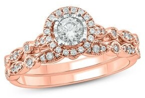 Cali Trove 1/2 cttw Diamond Bridal Ring Set in 10Kt White/Yellow/Rose Gold