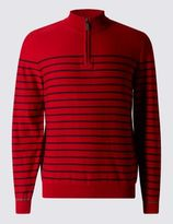 Marks and Spencer Pure Cotton Half Zip Striped Jumper