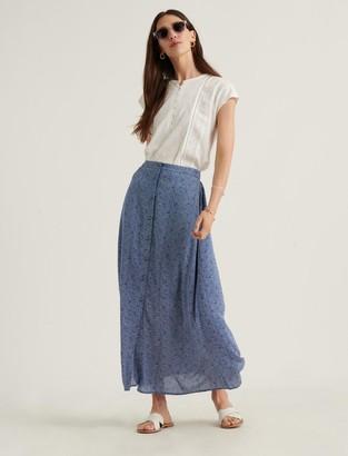 Polka Dot Button Front Skirt