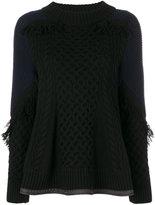 Sacai fisherman peplum sweater - women - Polyester/Wool - 2