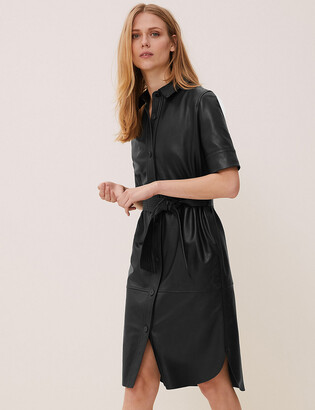 Marks and Spencer Leather Belted Midi Shirt Dress