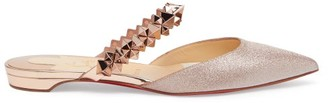 Christian Louboutin Planet Choc Spiked-strap Glitter Backless Loafers - Rose Gold