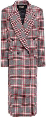 Michael Kors Double-breasted Checked Wool-blend Coat