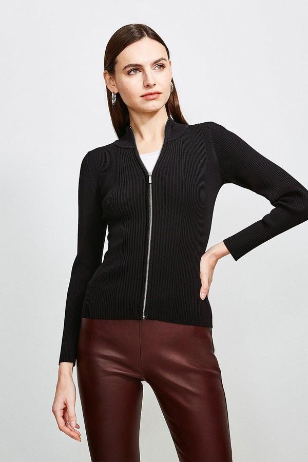 Karen Millen Funnel Neck Knitted Rib Zip Through Cardigan