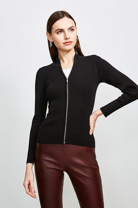 Karen Millen Funnel Neck Knitted Rib Zip Through Cardigan