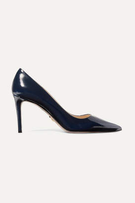 Prada 85 Glossed Textured-leather Pumps - Midnight blue