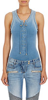 Balmain Women's Lace-Up French Terry Bodysuit-BLUE