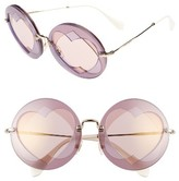 Miu Miu Women's 62Mm Heart Inset Round Sunglasses - Lilac Mix