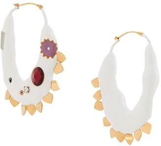 Marni Embellished Half Moon Earrings