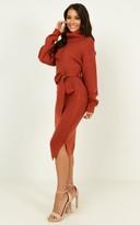 Showpo Love Me Too knit dress in rust - 12 (L) Sale Dresses
