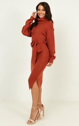 Showpo Love Me Too Knit Dress In Rust - 14 (XL) Casual Dresses