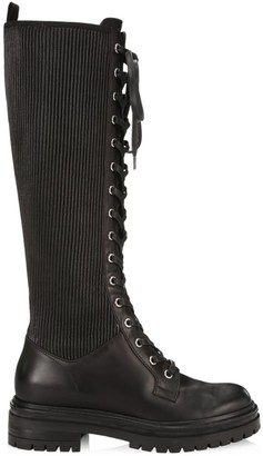 Gianvito Rossi Martis Tall Rib-Knit Leather Combat Boots