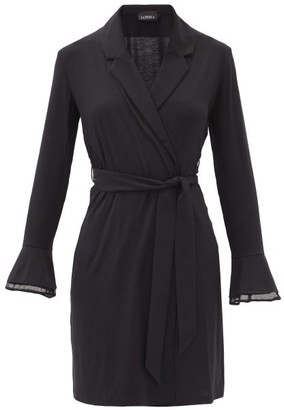 La Perla Layla Lace-insert Jersey Robe - Black