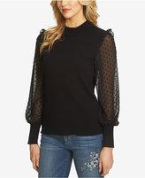 CeCe Dot-Sleeve Ruffled Sweater