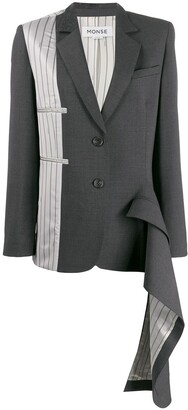 Monse Asymmetrical Double-Pocket Draped Blazer