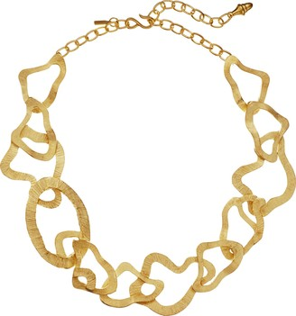 Kenneth Jay Lane Wavy Link Necklace Satin Gold One Size