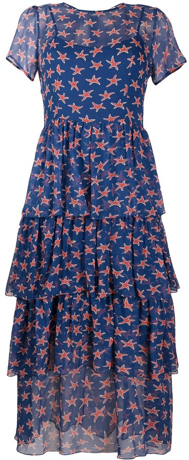 HVN Star-Print Ruffled Dress