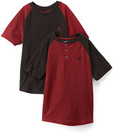 English Laundry Red & Black Space Dye Henley & Tee - Toddler & Boys