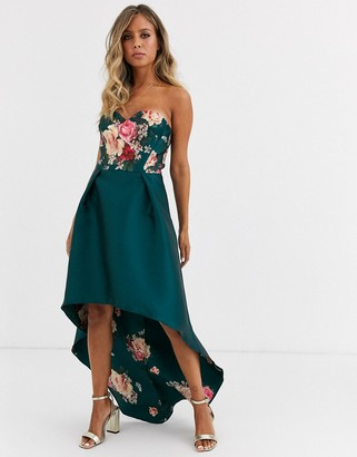Chi Chi London bandeau prom dress with high low hem in green floral