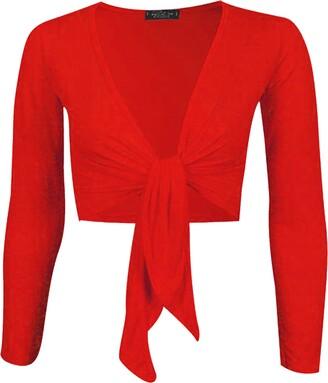 Candid Styles New Womens Ladies Plus Size Tie Front Bolero Cropped Shrug Top Cardigan 8-26 Jade Green