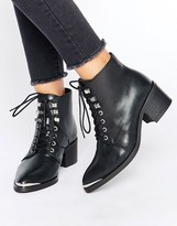 Pieces Derta Lace Up Mid Heeled Ankle Boots