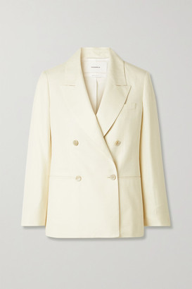 CASASOLA Net Sustain Carioca Organic Wool, Silk And Linen-blend Blazer - Cream