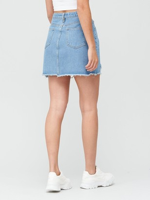 Missguided MissguidedDistressed Super Stretch Denim Skirt - Light Blue