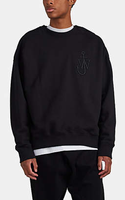 J.W.Anderson Men's Embroidered Cotton Button-Shoulder Sweatshirt - Black