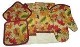 Fall Autumn Leaves Kitchen Set - Dish Towels, Oven Mitt, Potholders (5 Items)
