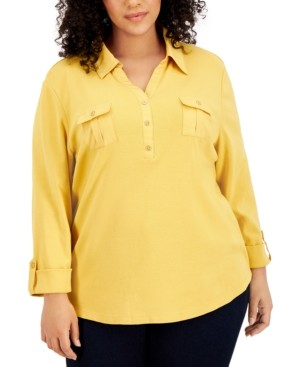 Karen Scott Plus Size Solid V-Neck Woven Top, Created for Macy's