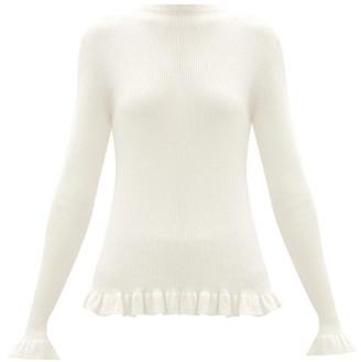 Sara Lanzi Ruffle-trim Rib-knit Merino Wool Sweater - Ivory