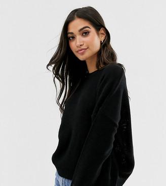 Brave Soul Petite grunge round neck sweater