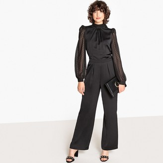 La Redoute Collections Long Sleeve Plummet Collar Jumpsuit