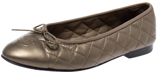 Chanel Metallic Brown Quilted Leather CC Bow Cap Toe Ballet Flats Size 39.5