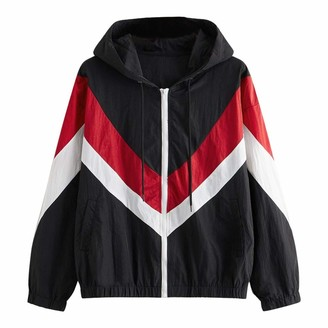 Mllkcao Winter Coats for Women Jackets Ladies Gifts for Long Sleeve Leopard Thin Skin Hooded Zip Stitching Outwear for Women Red