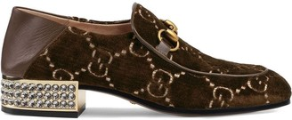 Gucci Horsebit GG velvet loafer with crystals