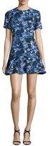 Cynthia Rowley Short-Sleeve Flounce-Hem Dress, Black/Lilac