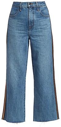 J Brand Joan High-Rise Metallic Stripe Crop Wide-Leg Jeans