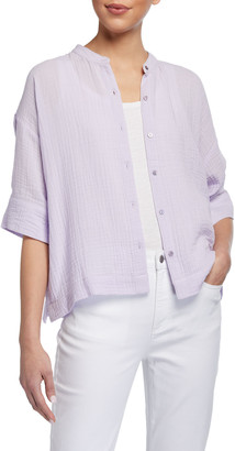 Eileen Fisher Petite Mandarin-Collar Elbow-Sleeve Organic Cotton Gauze Shirt