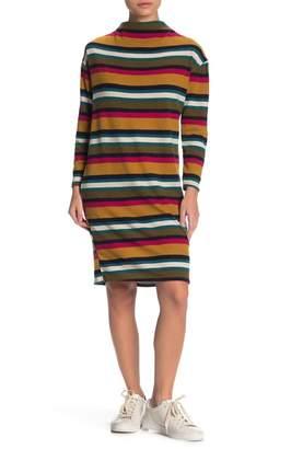 Susina Funnel Neck Stripe Print Dress (Regular & Petite)